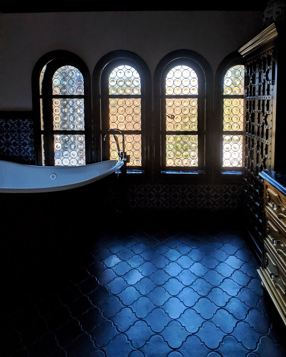 stained glass leaded glass design legacy glass studios menlo park bay area california custom design rondels spanish influence interior design tile privacy glass black bathroom arched windows.jpeg