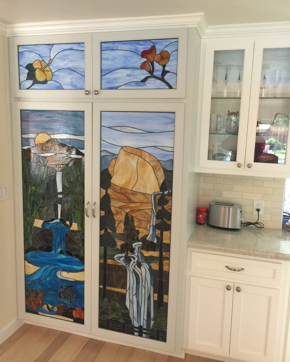 stained glass leaded glass design legacy glass studios menlo park bay area california custom design yosemite vernal falls misty trail california poppy hawaii hibiscus seven pools waterfalls humuhumu haleakala.jpg