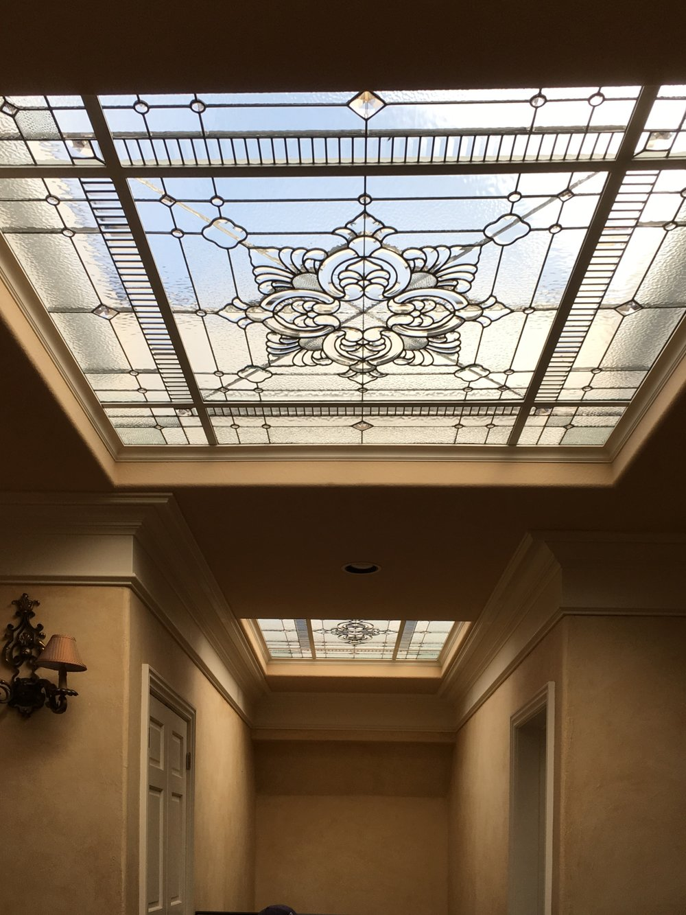 leaded glass stained glass custom design california legacy glass studios skylight elegant design beveled glass metal frame modern victorian home.JPG