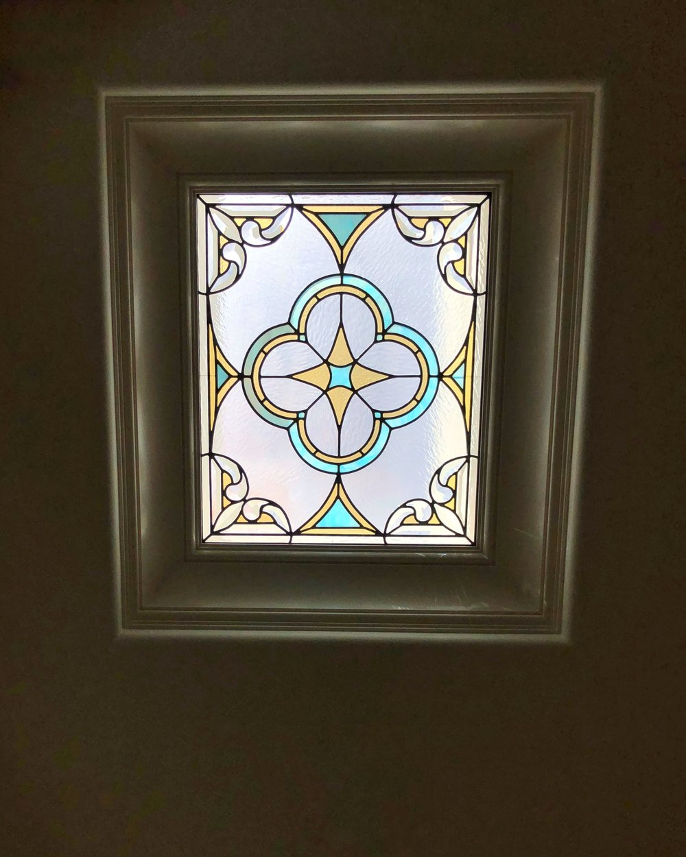 leaded glass stained glass custom design california legacy glass studios spanish quatrefoil design colorful beveled glass skylight rainbows master closet bathroom2.jpg