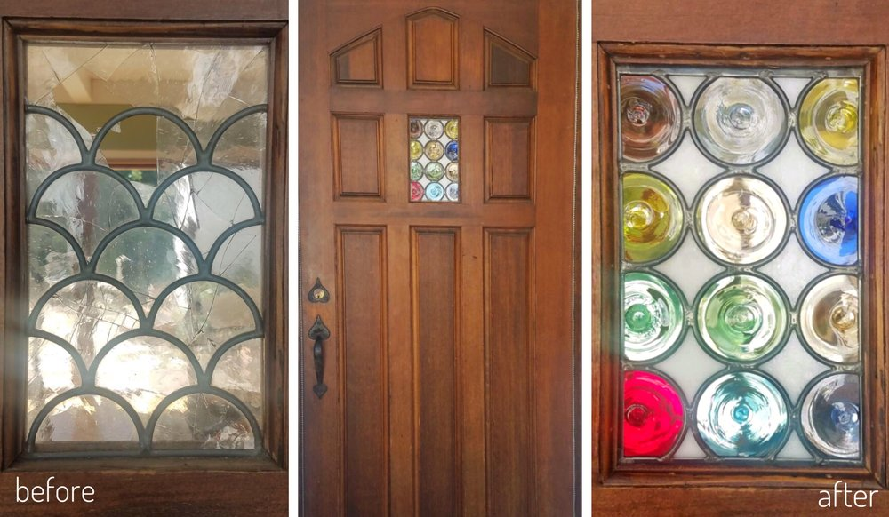 leaded stained glass repair before and after legacy glass studios california rondels.JPG