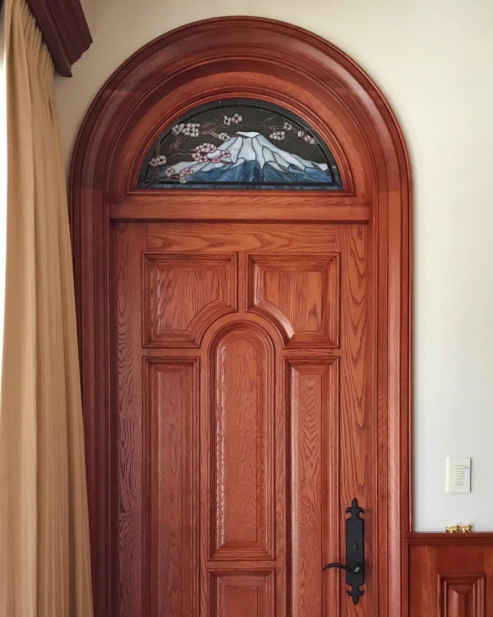 mt fuji stained glass copper foil design spectrum glass transom solid wood door molding custom arch art glass legacy glass studios california portola valley bay area.jpg