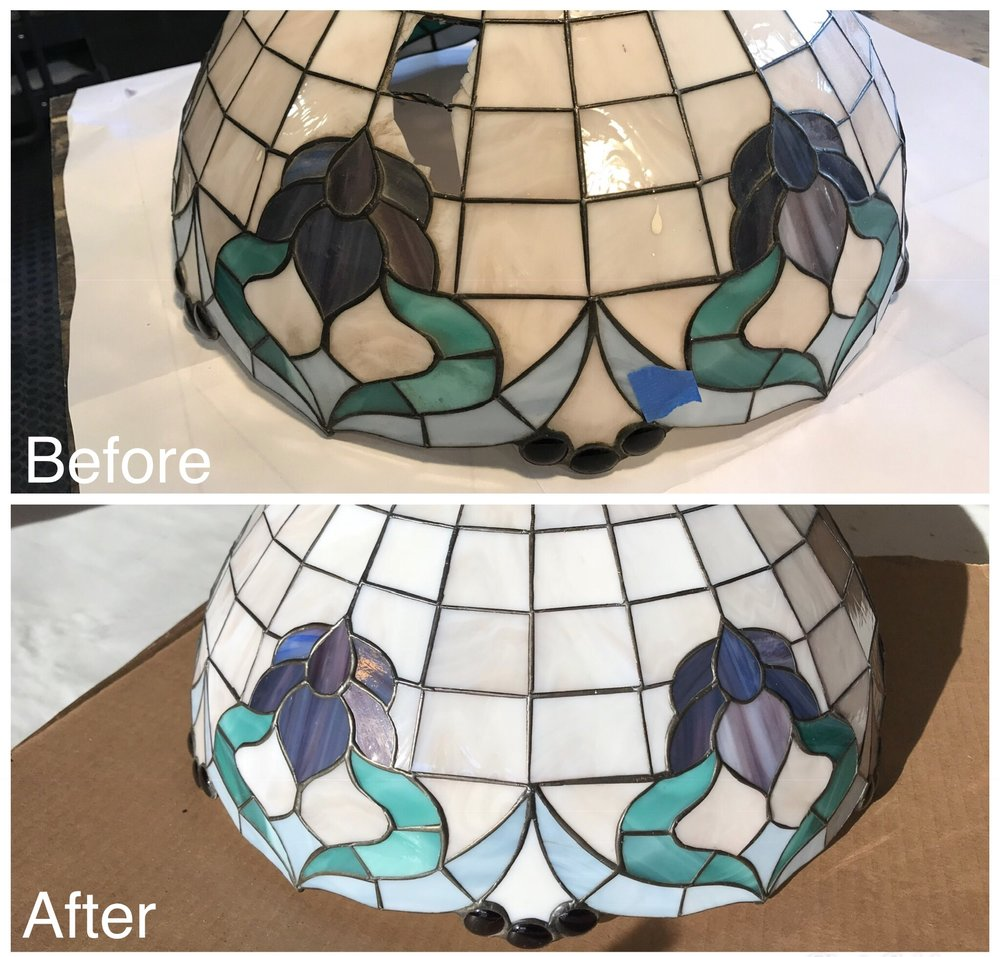 stained glass lampshade repair before and after opaque pink floral design legacy glass studios california.jpg