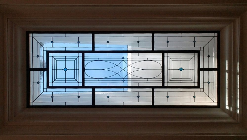 leaded glass stained glass san francisco art glass bay area custom design stained glass legacy glass studios design redwood city traditional beveled skylight accent diamond blue clear texture metal skylight frame geometric craftsman.jpeg