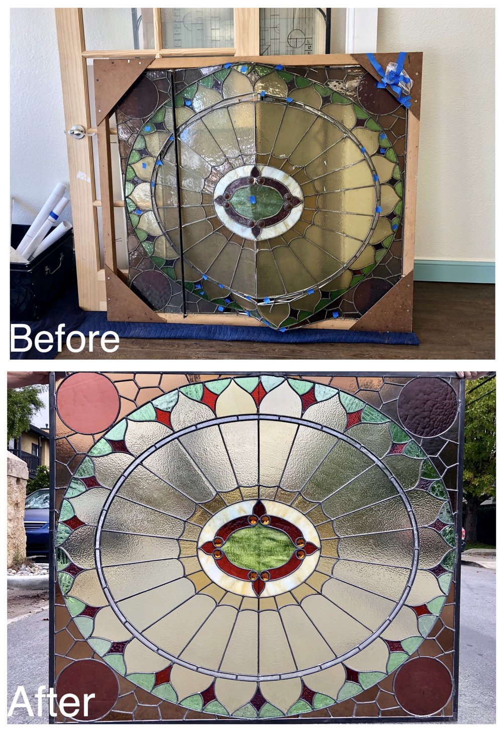 stained glass art glass bay area legacy glass studios antique glass old repair bevels textured ripple glass restoration repurpose restored glass amber brown circle traditional jewels green red clear cream border before after.jpg