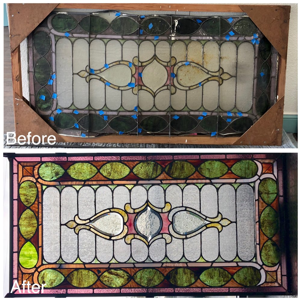stained glass art glass bay area legacy glass studios antique glass old repair bevels textured ripple glass purple green clear restoration repurpose restored glass border pink traditional before after.JPG