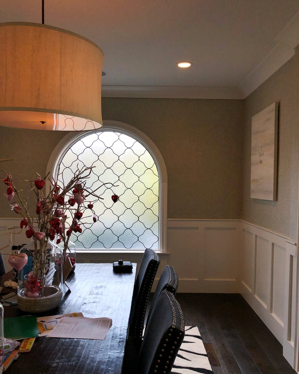 leaded glass stained glass art glass bay area custom design legacy glass studios design triple insulated crystal ice clear texture pattern quatrefoil obscurity privacy dining room.jpg