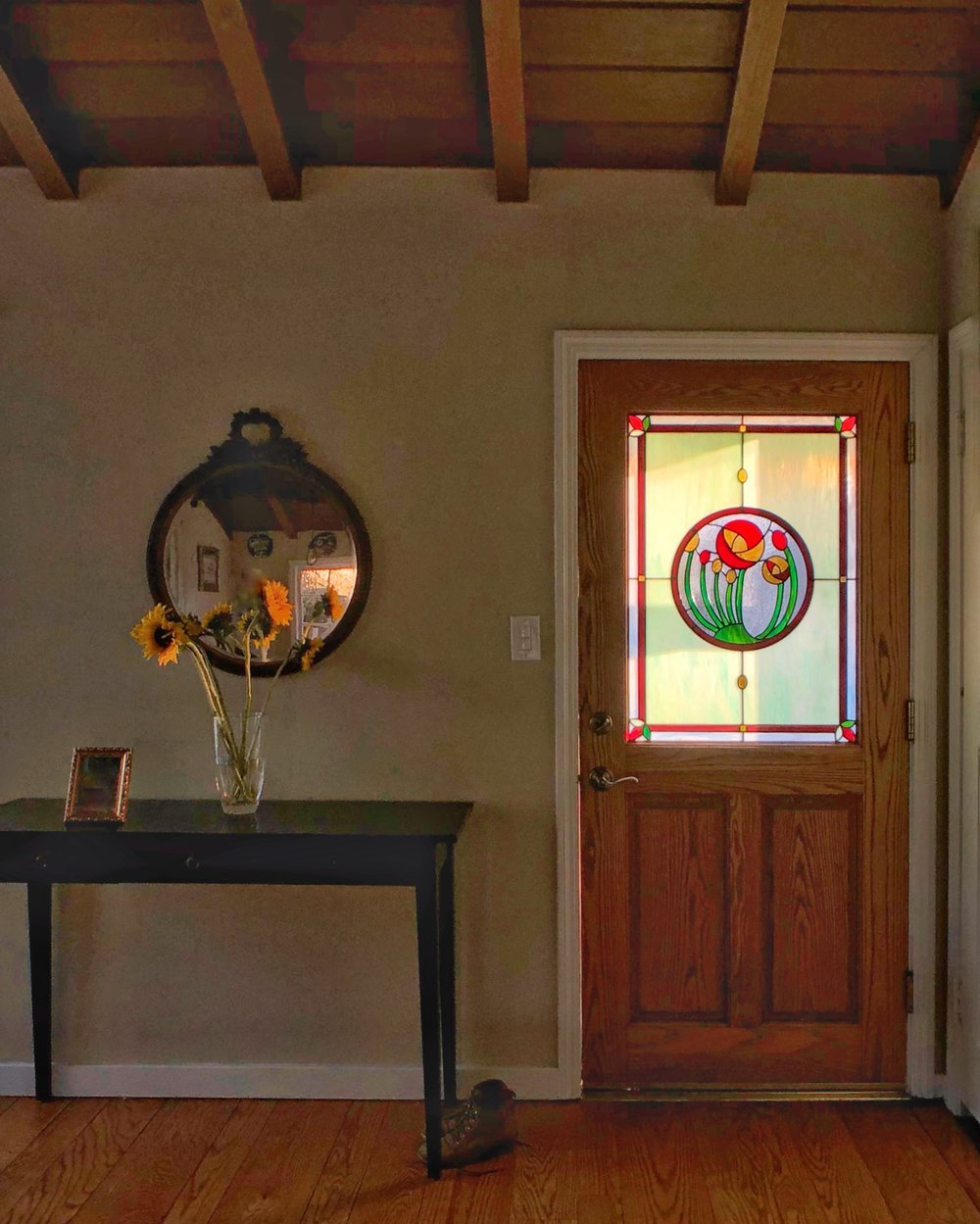 leaded glass stained glass art glass bay area custom design legacy glass studios design front door flowers front entry green light red border leaves abstract sunset light opalescent.jpg