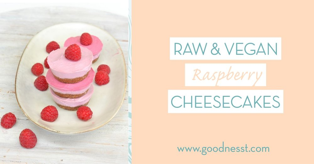 raspberry mini-cheesecakes - raw cheesecakes recipe - vegan cheesecake recipe - goodnesst - amelie van der aa