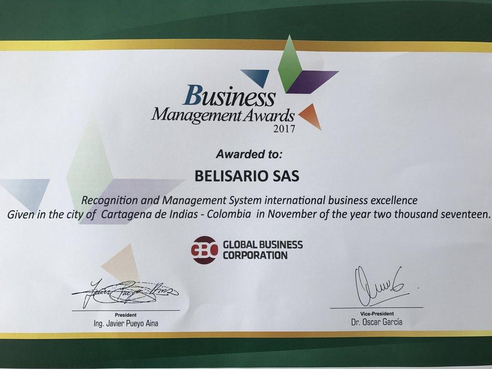 Certificado premio Business Management