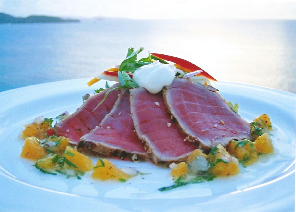 Steve's signature Tuna Tataki with Orange Mojo served on Necker Island.