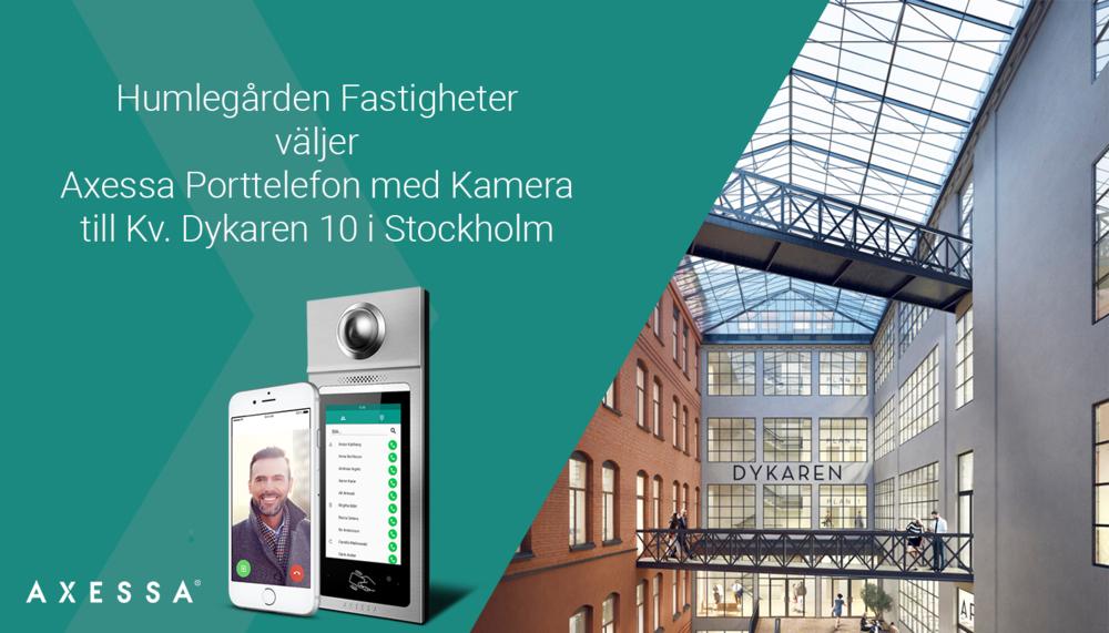 I samband med att Humlegårdens Fastigheter renoverar sin fastighet Kv. Dykaren 10 på Kungsholmen i Stockholm uppgraderar man även porttelefonsystemet. Humlegården har valt att installera Axessas porttelefonsystem. Installationen kommer att utföras av återförsäljare Nordqvist Installation & Service AB. Nya hyresgäster i huset är bl.a. Nordnet Bank AB. För mer information om våra produkter och tjänster kontakta oss på  info@axessa.se .
