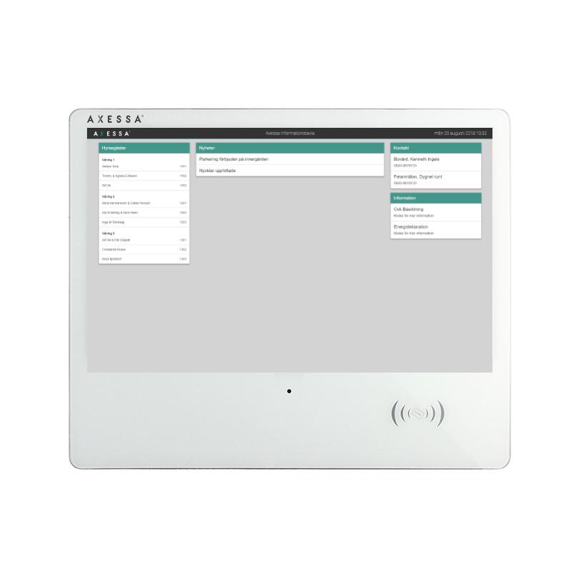 """Axessa Informationstavla 21,5"""" POE+ med kapacitivtouchskärm och RFID läsare"""