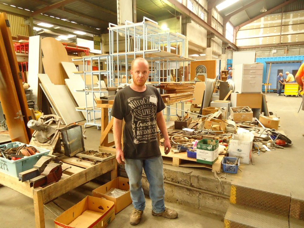Alex sorting excess tools.