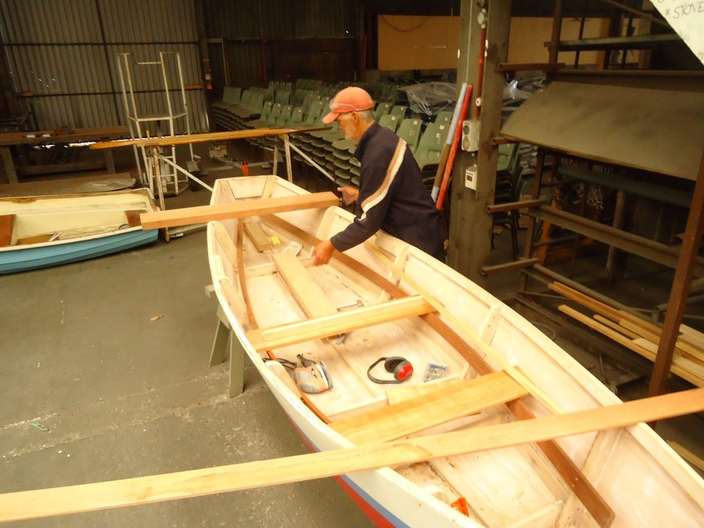 Ron refurbishing his boat