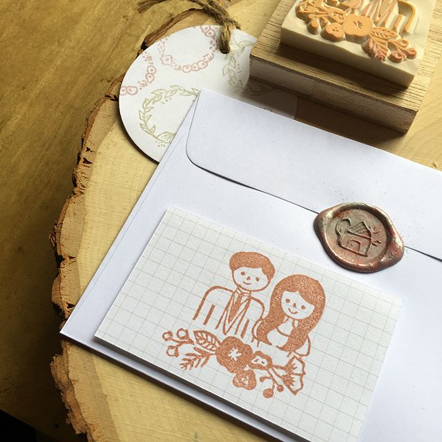 The new illustrated couple/wedding stamp is now ready for customisation! DM me/leave your IG handle below to find out more deets! ✨ #wedding #weddingsg #handmade #stationery #rubberstamp #gift #giftideas