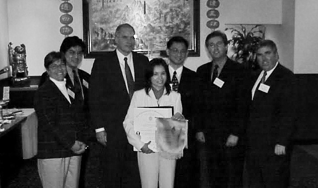 (Left to Right) Former South Cove Community Health Center representatives, current State Rep. Tackey Chan, former Norfolk District Attorney and Congressman William Keating, former QARI Executive Director Kao Li, current State Rep. Bruce Ayers, former Senator and current Norfolk District Attorney Michael Morrissey