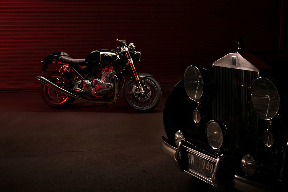 Norton Commando 961 and Rolls Royce Wraith