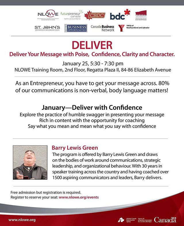 Looking to boost your skills as an entrepreneur?  Confidence is more than just knowing your stuff.  Learn more by attending this FREE seminar on 'Delivering your message with poise, confidence, clarity, and character'. Reserve your seat today!  @futurpreneur @nlowe_org @cbdcnl @bdc_ca . . . . #businessnl #commonground #commongroundcoworking #coworking #startsomething #yyt #entrepreneurship #futurpreneur #futurpreneurcanada