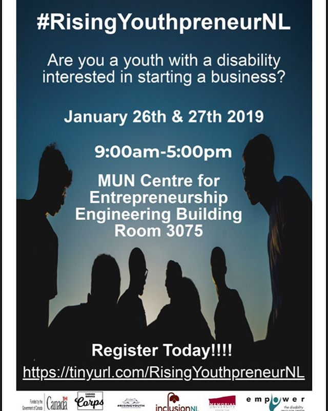 Are you a youth with a disability interested in starting a business?  Check out this event being held at the MUN Centre for Entrepreneurship and register today! . . . . #businessnl #startsomething #youthpreneur #RisingYouthpreneurNL