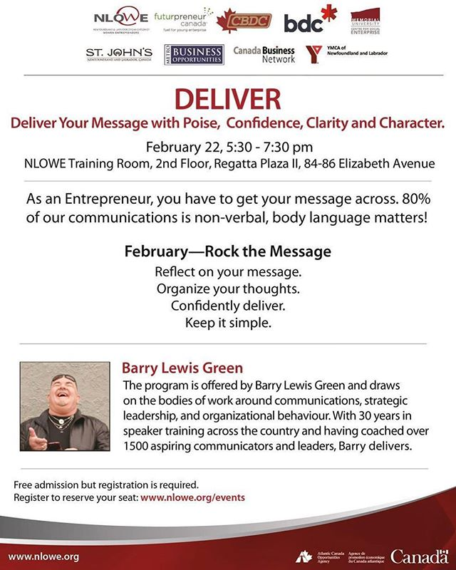 Looking to boost your skills as an entrepreneur? Confidence is more than just knowing your stuff. . Learn more by attending this FREE seminar on 'Delivering your message with poise, confidence, clarity, and character'. Reserve your seat today! . . . . . . #businessnl #commonground #commongroundcoworking #coworking #startsomething #yyt #entrepreneurship #futurpreneur #futurpreneurcanada