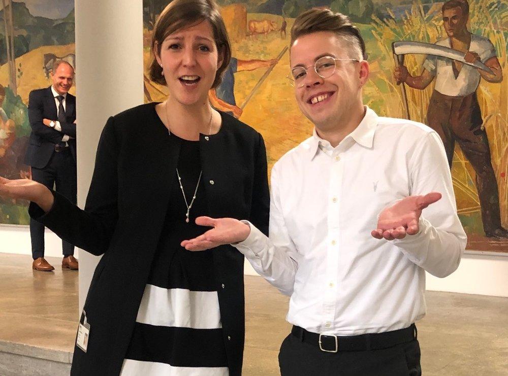 Die Fraktionssprecherin der Grünen, Kim Schweri, und der SP, Florian Vock, sind einigermassen irritiert über die absurden Argumente der rechten Parteien.