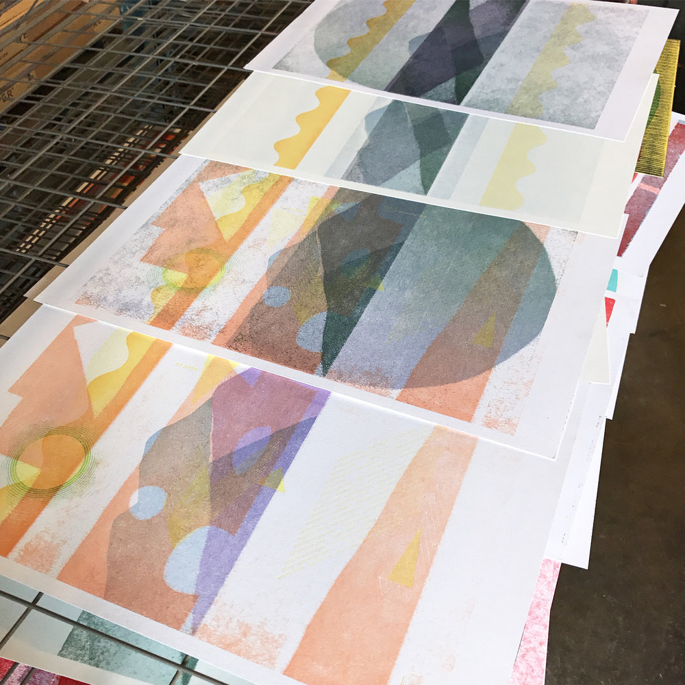 Linoleum / pressure prints in process.
