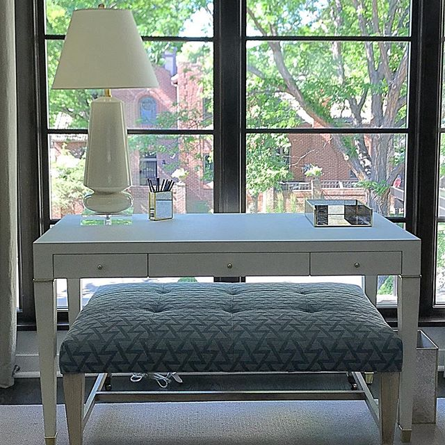 Such a pretty perch for a home office. @visualcomfortco @bungalow5 @leejofa @leeindustries @donghia_inc @pigeonandpoodle
