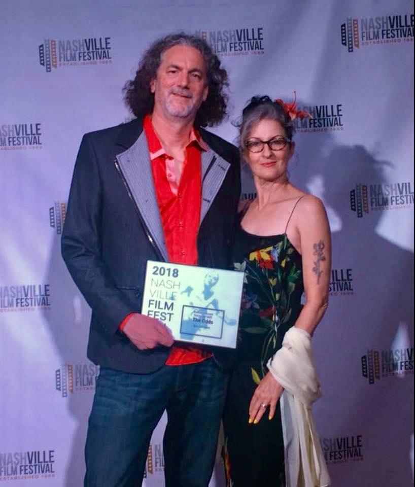 Writer-director Bob Giordano with Dina Dargo moments after accepting the Audience Award- Graveyard Shift