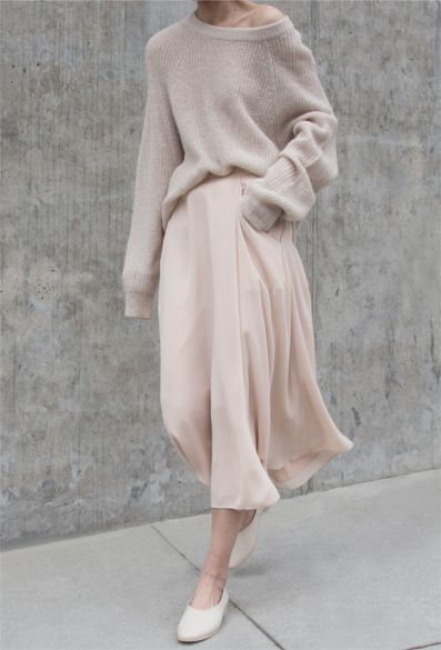 The softest slik chiffon & Cashmere - In a palette of grey nudes