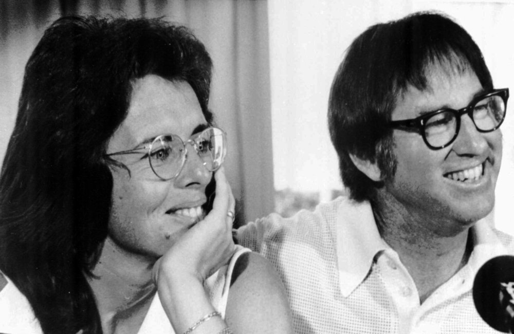 Billy Jean King and Bobby Riggs back in the day, creating a spectacle