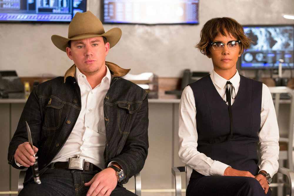 Channing Tatum and Halle Berry (really! It's her!) in Kingsman: The Golden Circle.