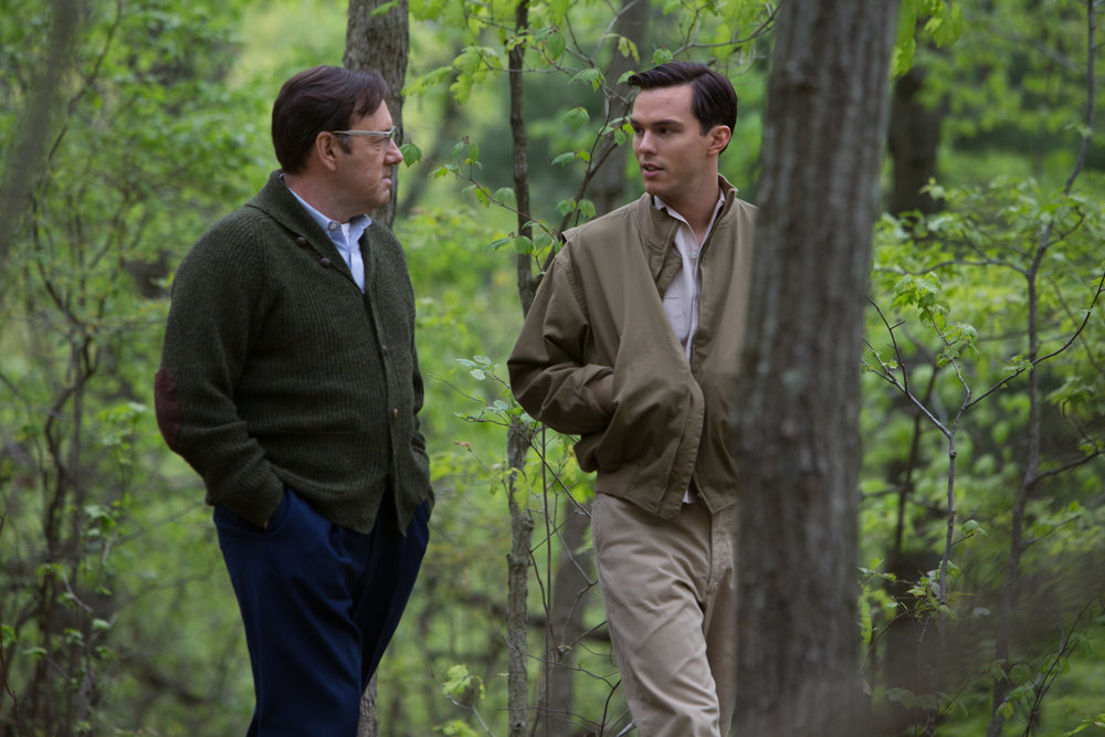 Literary teacher Kevin Spacey counsels an angry, young J.D. Salinger (Nicholas Hoult)