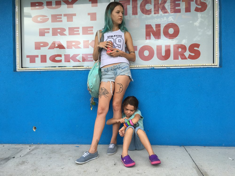 Bria Vinaite and Brooklynn Prince in The Florida Project: Mother and daughter making do