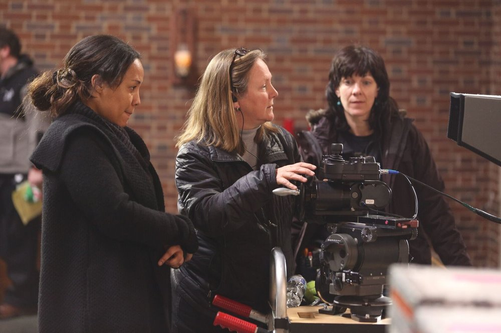 Maggie Betts, left, directs crew in Novitiate