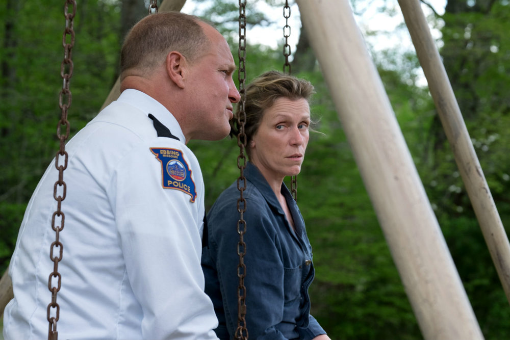 Woody Harrelson and Frances McDormand in a scene from Three Billboards...