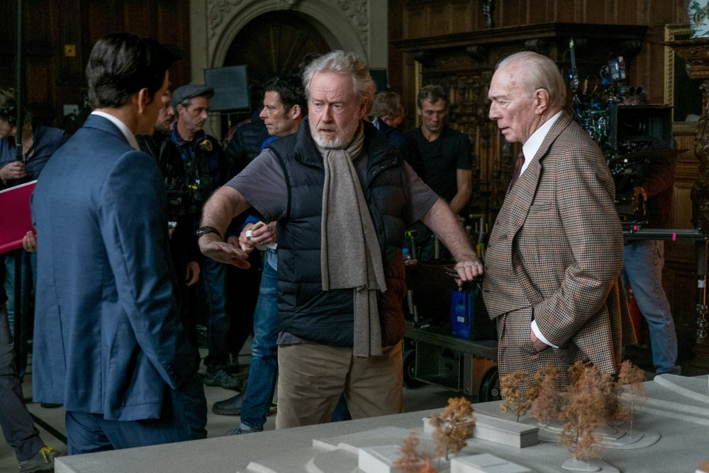 Ridley Scott (center) and Christopher Plummer pull off one of Hollywood's hastiest reshoots