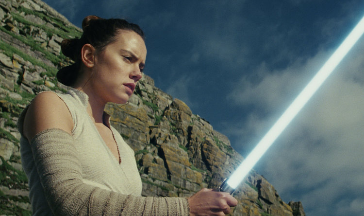 Daisy Ridley in Star Wars: The Last Jedi, steeling herself for Nerd Wars