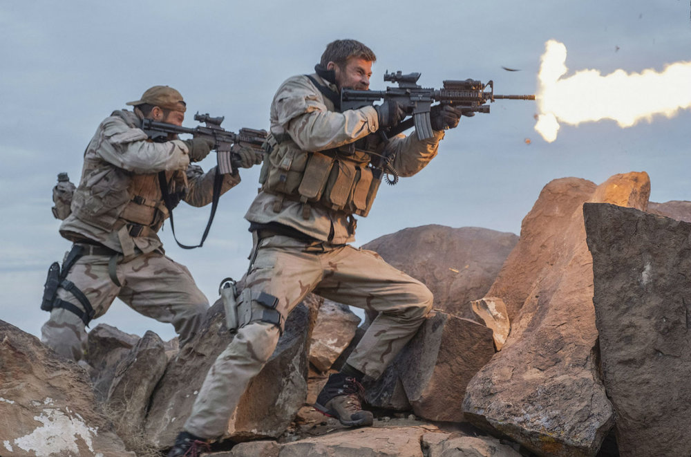 Geoff Stults and Chris Hemsworth in Jerry Bruckheimer's 12 Strong. Blowing 'em up real good!