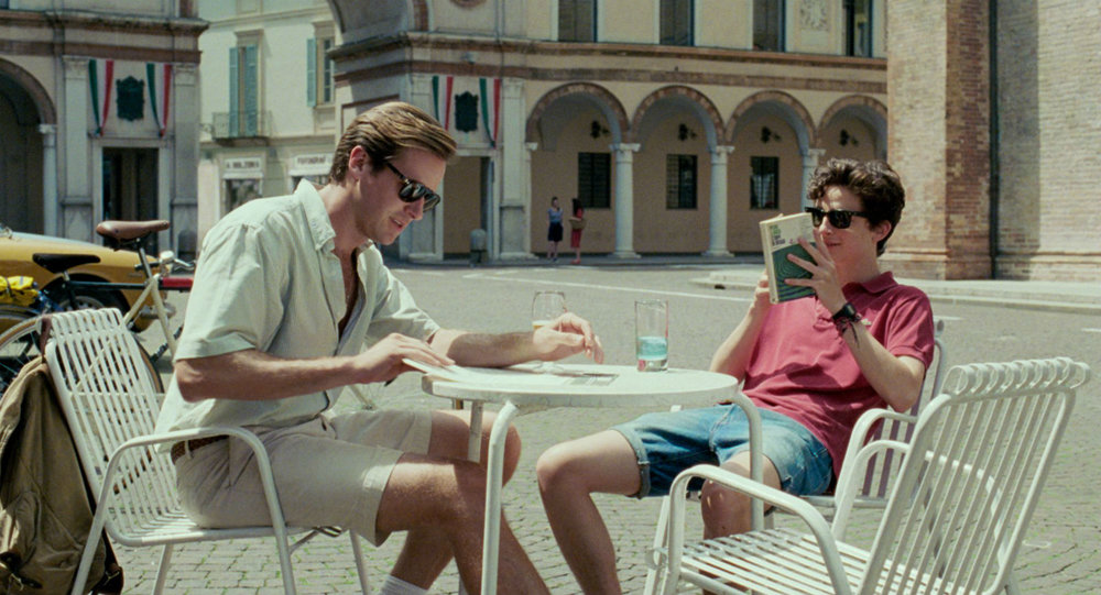 Armie Hammer and Timothee Chalomet sloowwly seducing each other in Call Me By Your Name
