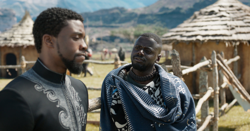 Daniel Kaluuya explains to Chadwick Boseman that refugees can be bad hombres