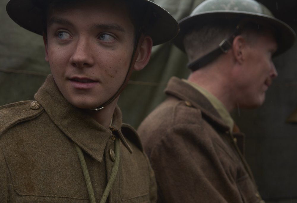 Journey's End. An excited Asa Butterfield being led to the slaughter house of war