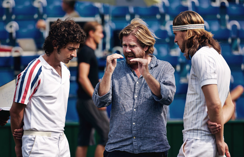Shia LeBeouf, director Janus Metz, and Sverrir Gudnason on the set of Borg vs McEnroe.