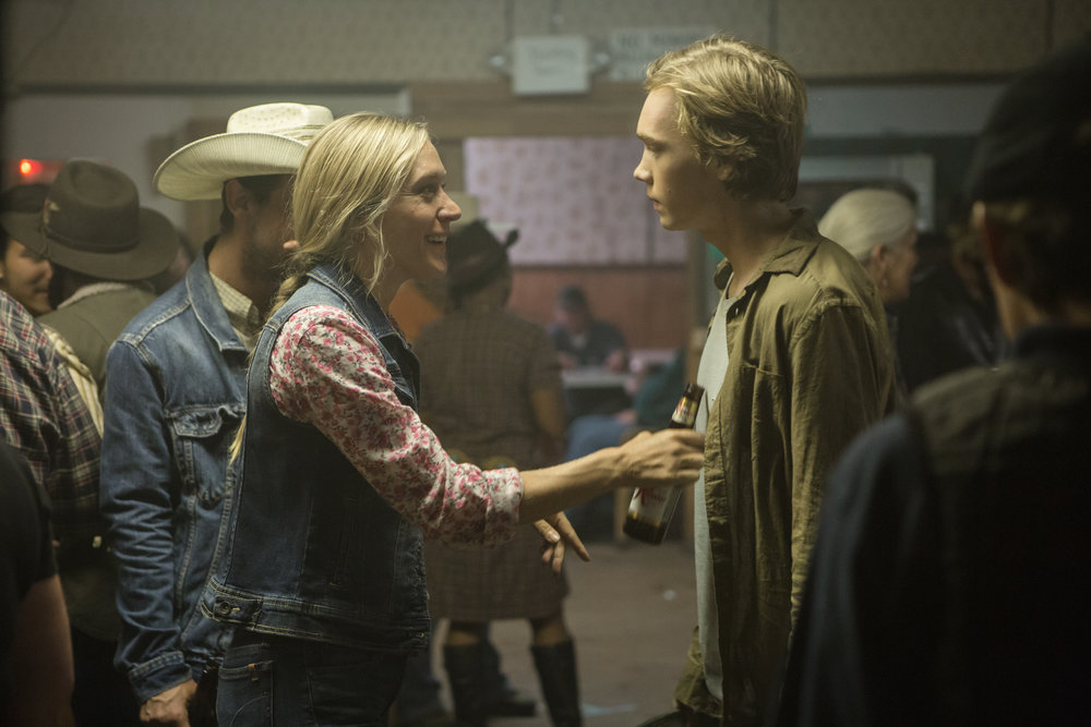 Chloe Sevigny is a veteran jockey named Bonnie. Charlie Plummer is Charley, who loves his horse