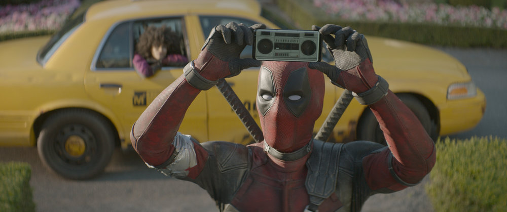Pop culture gag reference #117. Guess what iconic scene Deadpool is taking p--- out of here.