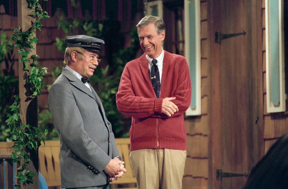 Mister Rogers and his pal, the Speedy Deliveryman Mr. McFeeley (David Newell)