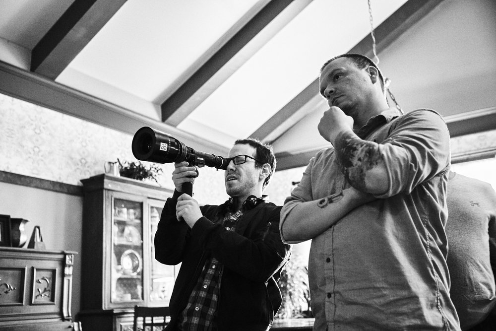 Ari Aster and cinematographer Pawel Pogorzelski on the set of Hereditary
