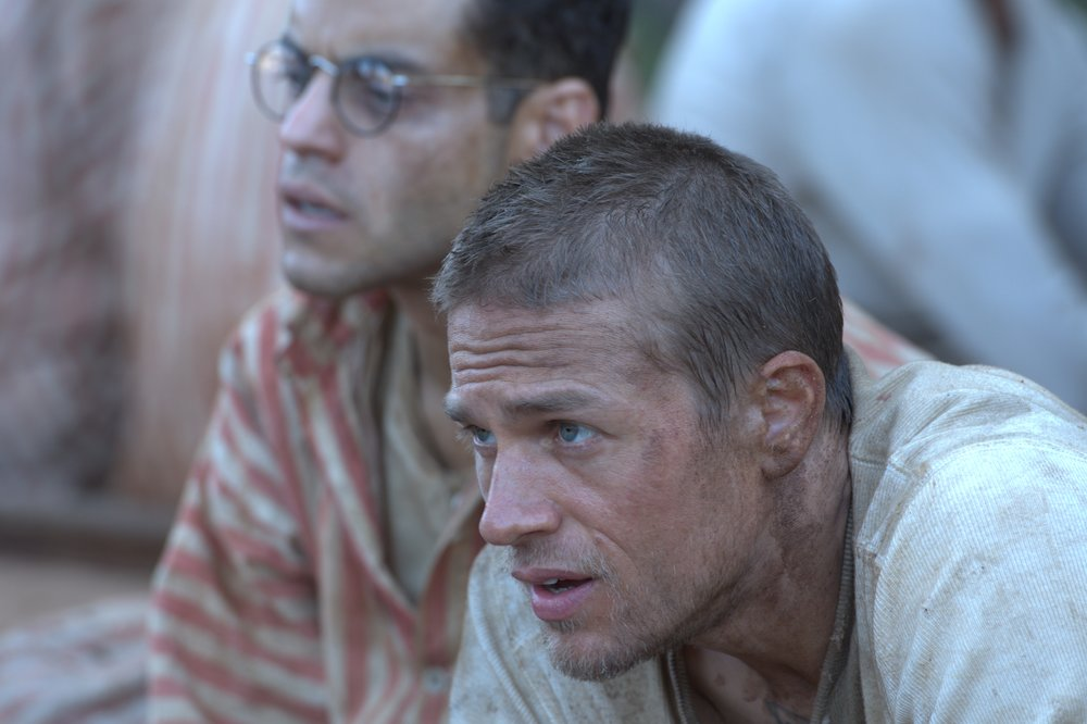 Bunkmates in hell: Malek and Hunnam in the rebooted penal colony escape film Papillon