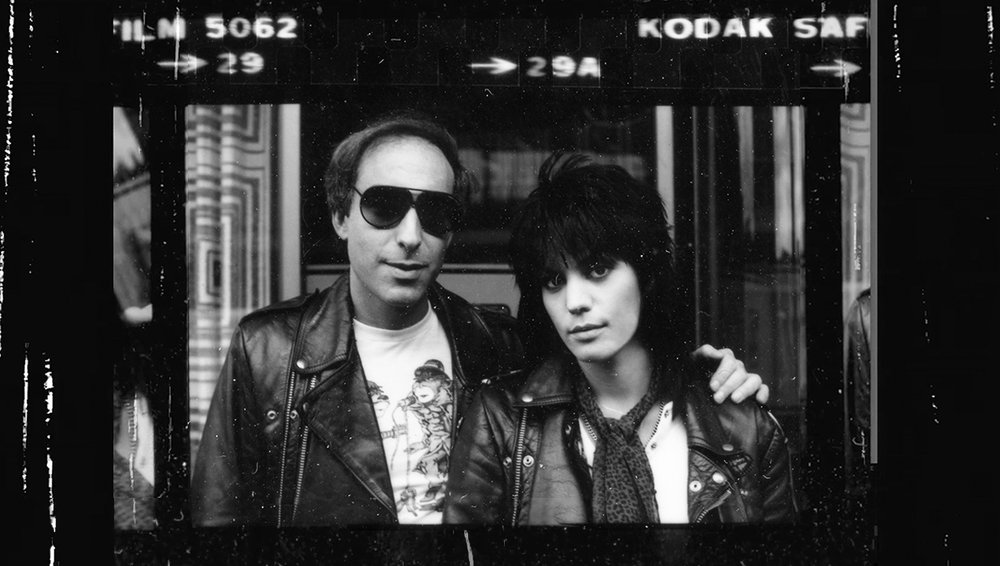 A vintage shot of Joan Jett with songwriting partner Kenny Laguna.