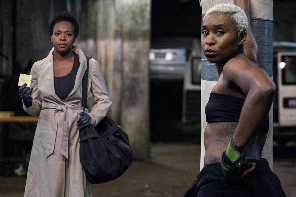 Viola Davis rounds up a tough, heist-capable driver (Cynthia Erivo) in Widow.